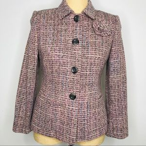 Tahari ASL Pink Tweed Wool Blend Blazer